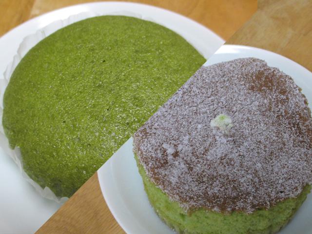 『ジャンボむしケーキ宇治抹茶』と『宇治抹茶シフォンケーキ』