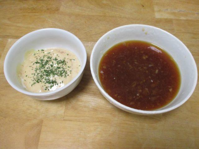 味噌マヨネーズと、おろし玉ねぎ入りポン酢