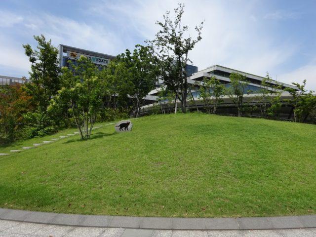 敷地正面にはなだらかな芝生の小山
